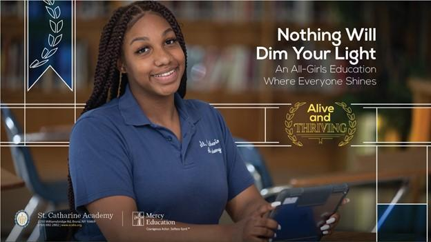 Picture of girl smiling at desk with phrase Nothing Will Dim Your Light