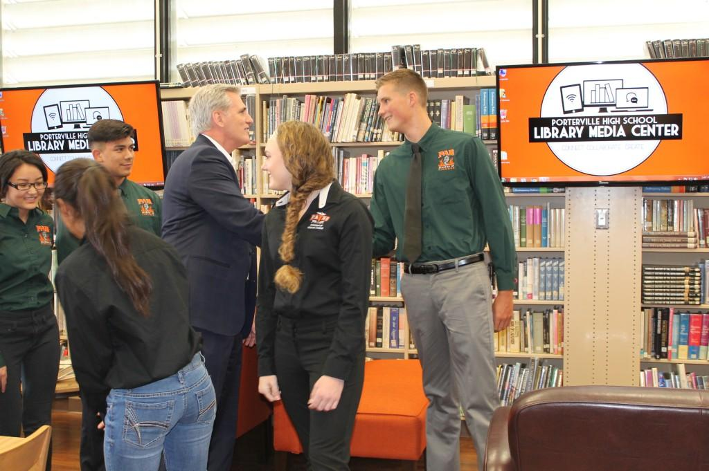 U.S. Senator McCarthy visits with students in the Library Media Center