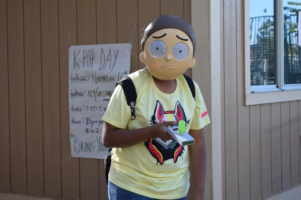 A CCA student dressed up as Morty from Rick and Morty.