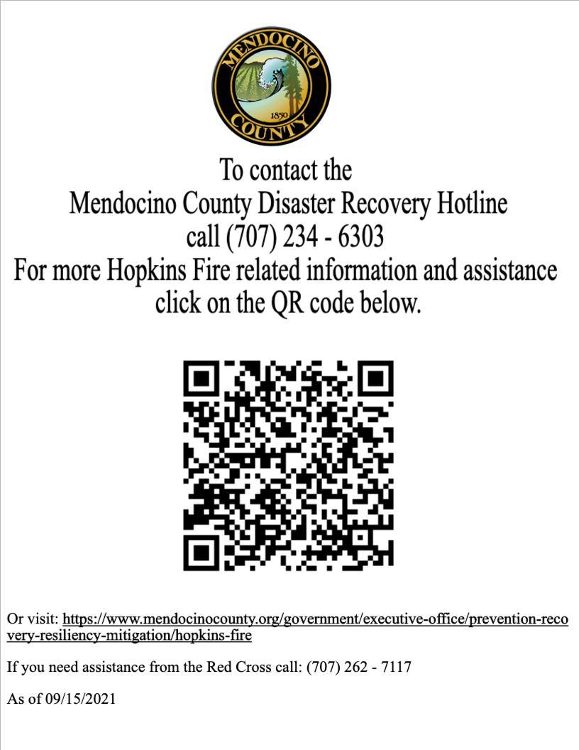 The Mendocino County Human Evacuation Center is located at the Mendocino County Office of Education, 2240 Old River Road, Talmage poster with QR code.