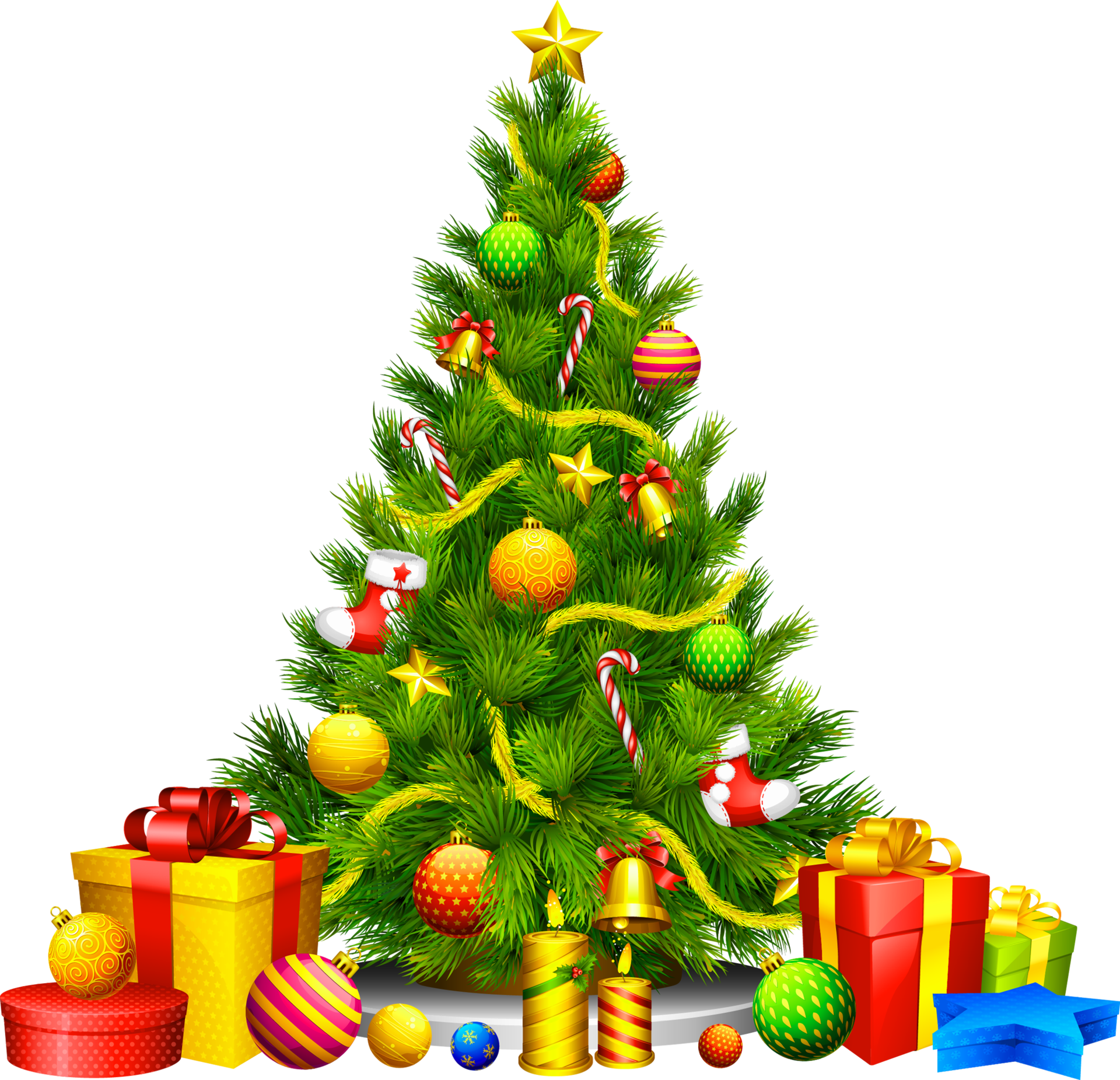 Clip Art of Christmas Tree with gifts