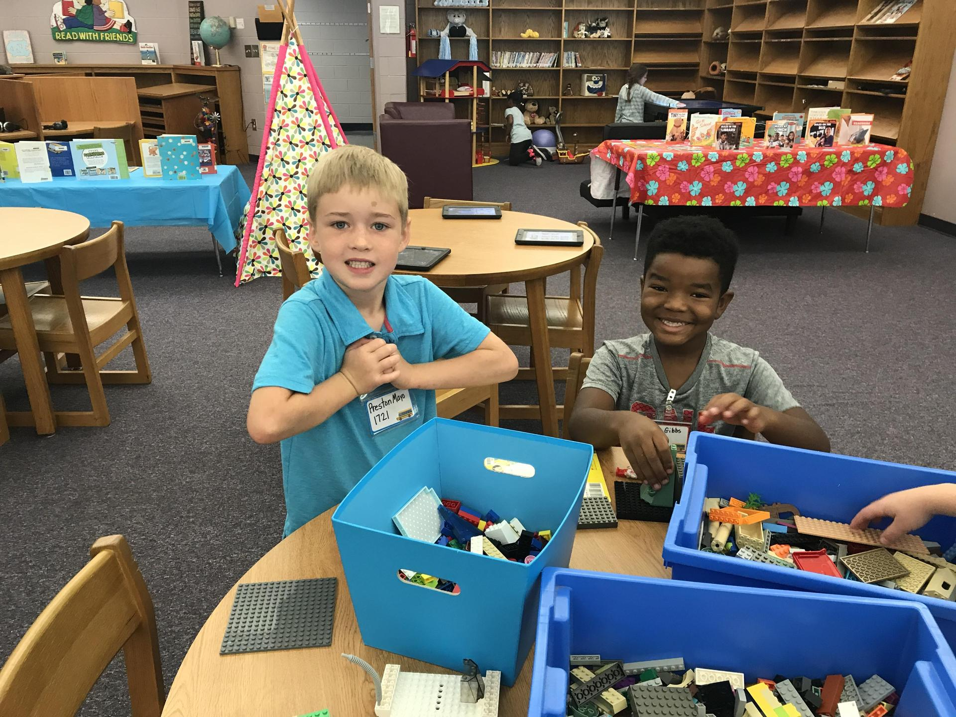 Boys playing legos