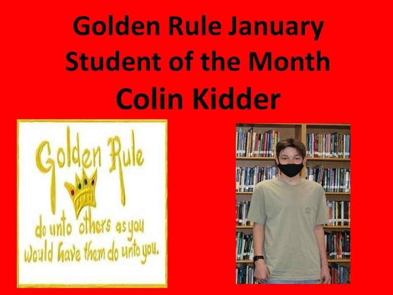 Colin Kidder January Golden Rule Student of the Month Featured Photo