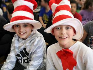 Photo of two Tamaques students dressed for Read Across America Day.