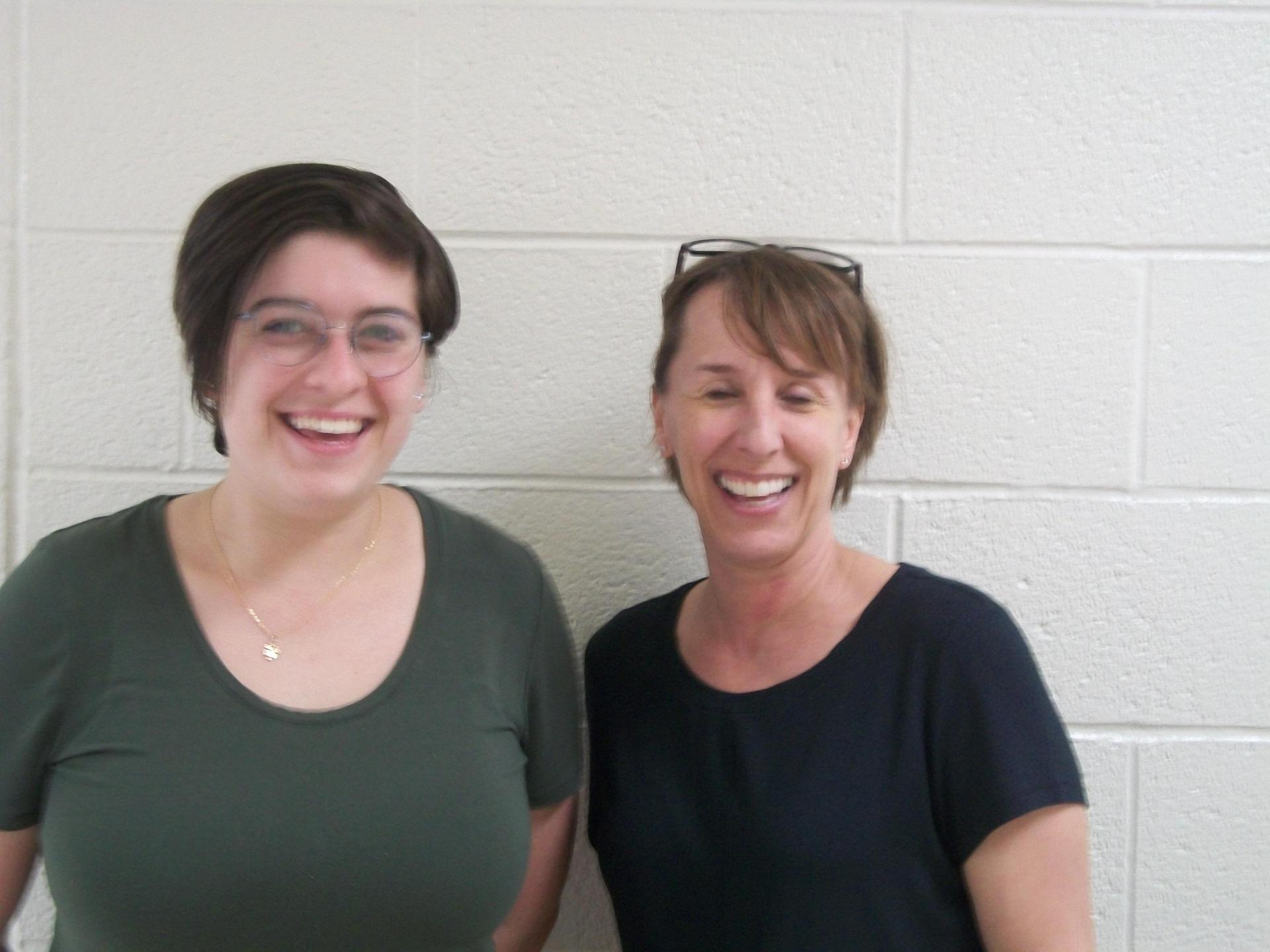 Abby Bryant and Ginny Whitman work in our resource classroom.