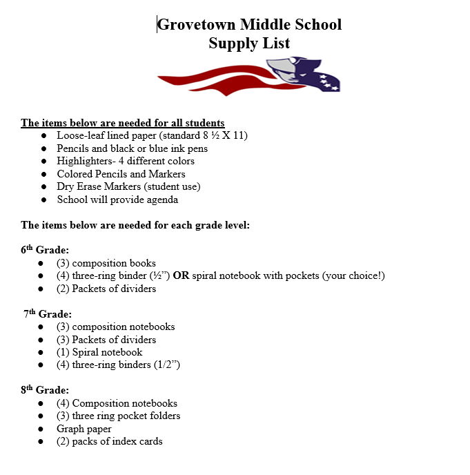 Supply List - Miscellaneous - Grovetown Middle School