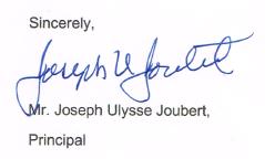 Mr. Joubert's Signature