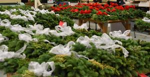 Christmas wreaths waiting for pick-up