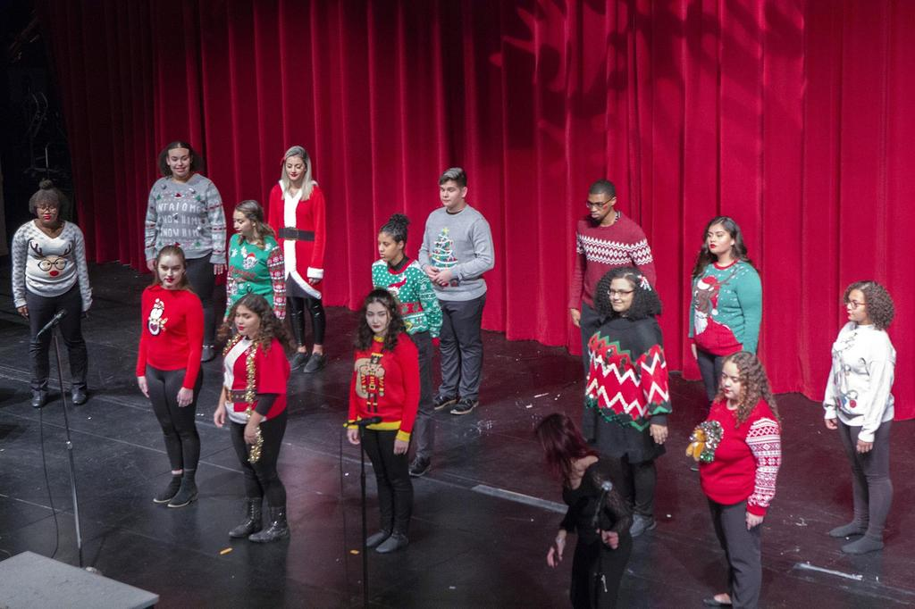 A wide angle, slightly overhead view of the Show Choir