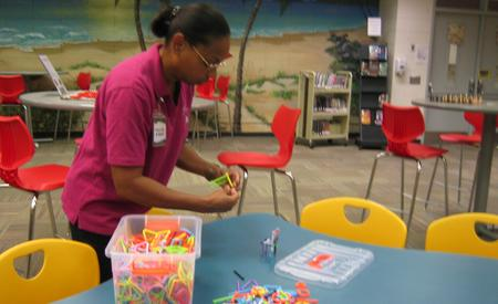 Mrs. Miles building in the Makerspace