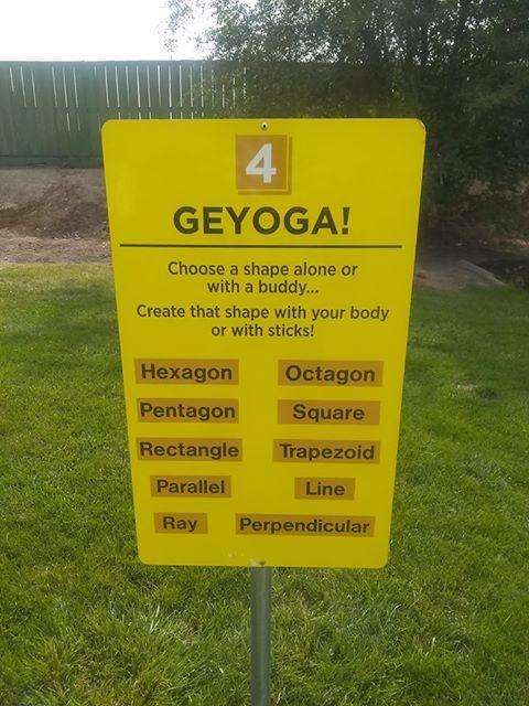 Geyoga! sign at playground at Snake River Elementary.