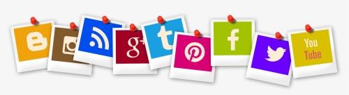 line of snapshots of social media logos