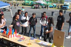 DVMS students play a game at the Summer Kick-off Fair.