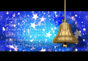 Gold bell with a blue starry back ground and faint music notes of jingle bells