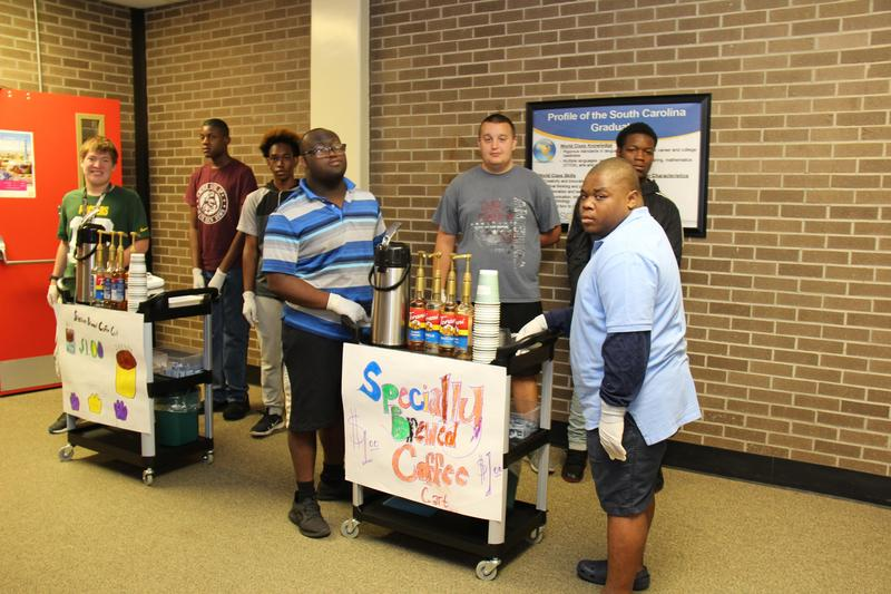 Students at B-L High School prepare to deliver specialty coffee drinks as part of a new project at the school that allows them to put into action the life skills they are learning in the classroom.