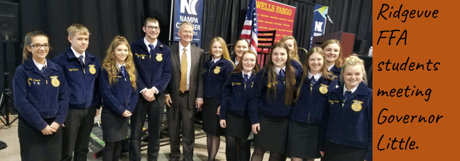 FFA Students meeting Governor Little