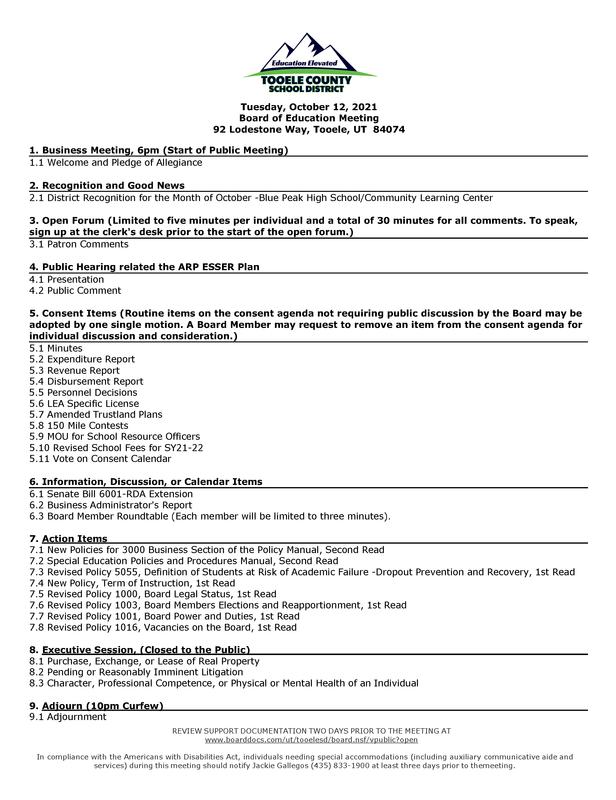 Board of Education Meeting  - October 12, 2021 Thumbnail Image