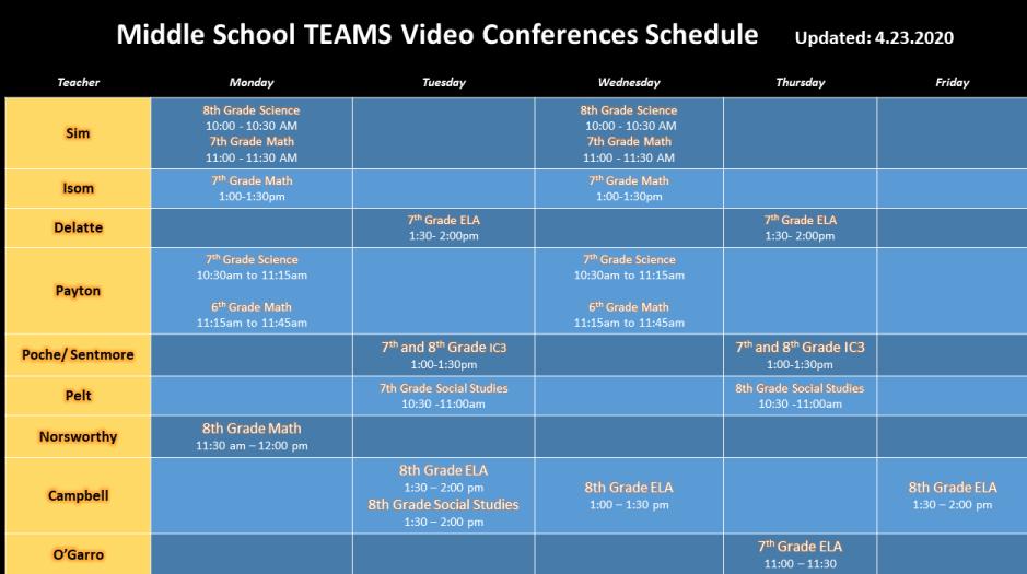 Virtual Class Schedules