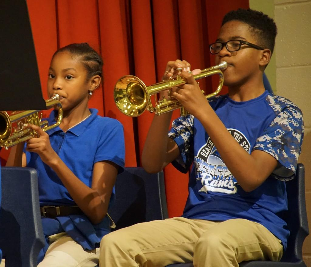 Malaniha Morris and Tyler Wesley on trumpets.