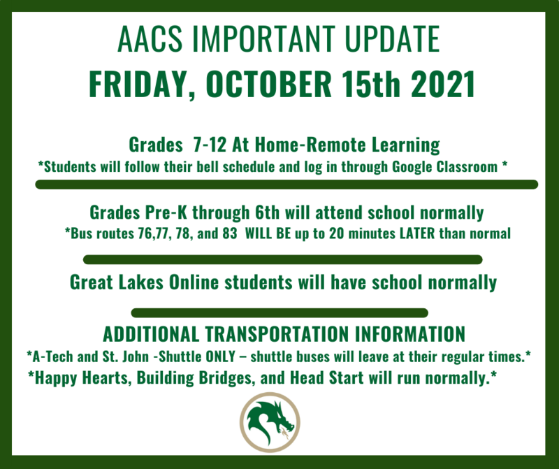 October 15th- Grades 7-12 Remote- At Home Learning Day Featured Photo