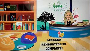 Library scene with bitmoji librarian - renovation complete