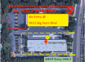 Image displayed is an aerial map of the school that displays designated entry/exit points for ARCP procedures for Morning Drop-off and Afternoon Pickup.