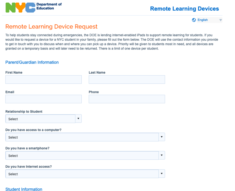 snapshot of learning device request survey