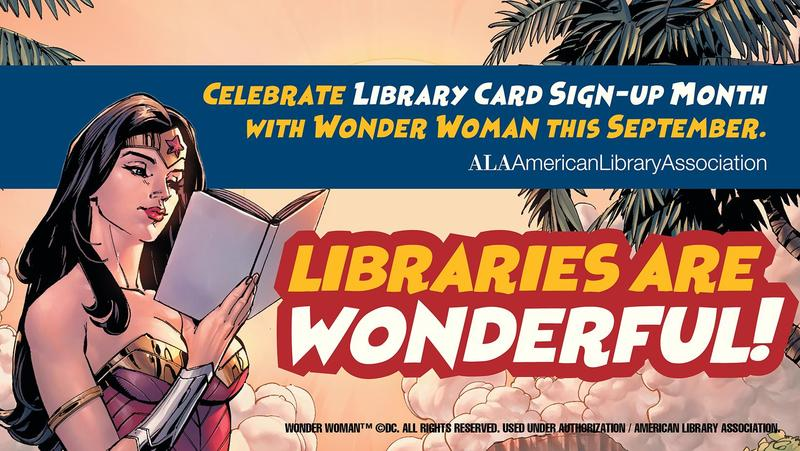 image of SuperWoman library card signup