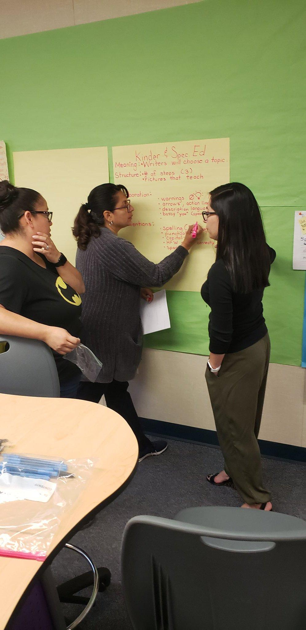 teachers brainstorming during meeting