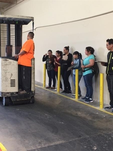 students analyzing fork lift driver