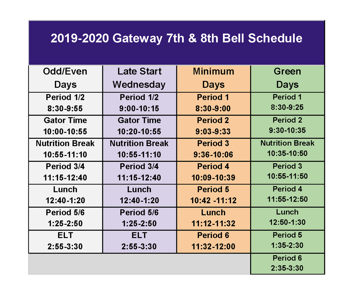 7th & 8th bell schedule