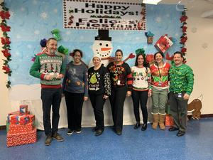 Ugly Christmas sweater contestants