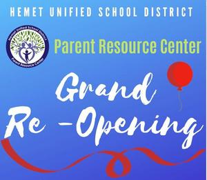 Parent Resource Center Grand Reopening Flyer