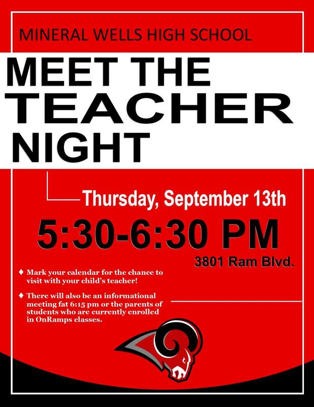 Meet the Teacher Sept 13 from 5:30 -6:00 pm