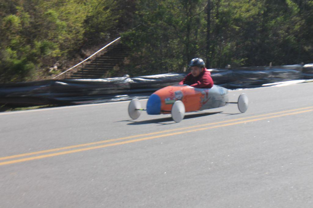 student racing in derby car race