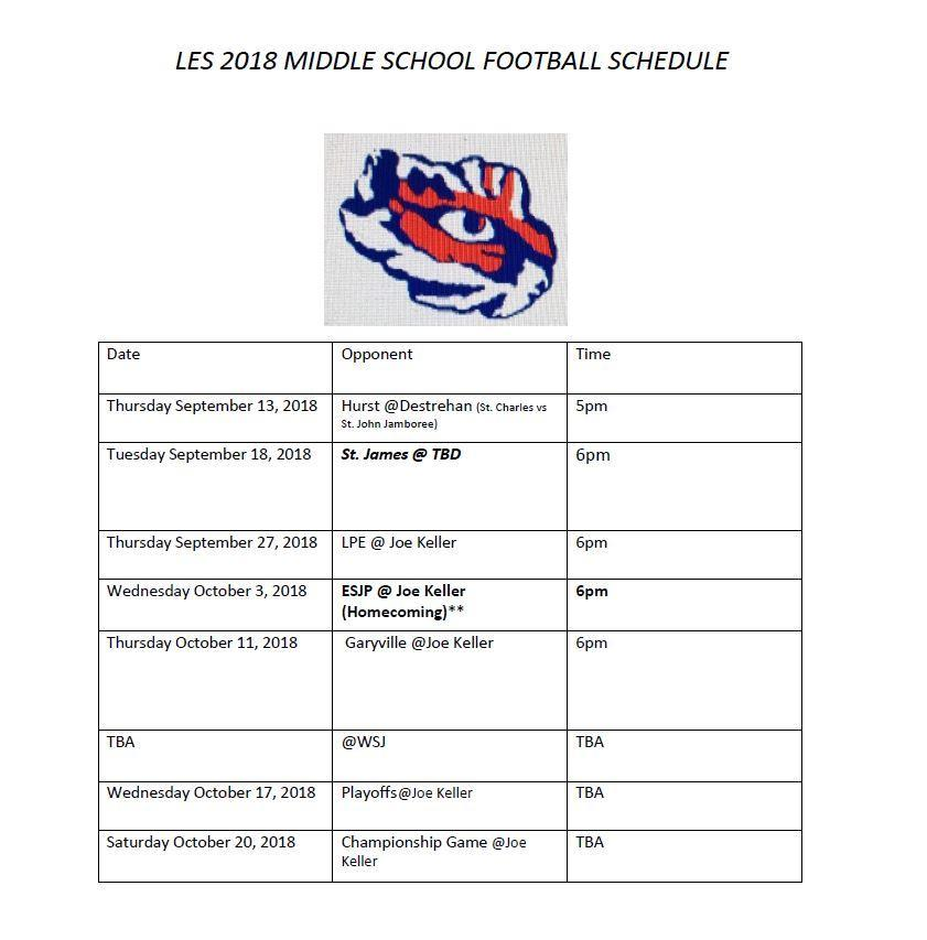 LES 2018-2019 Football Schedule