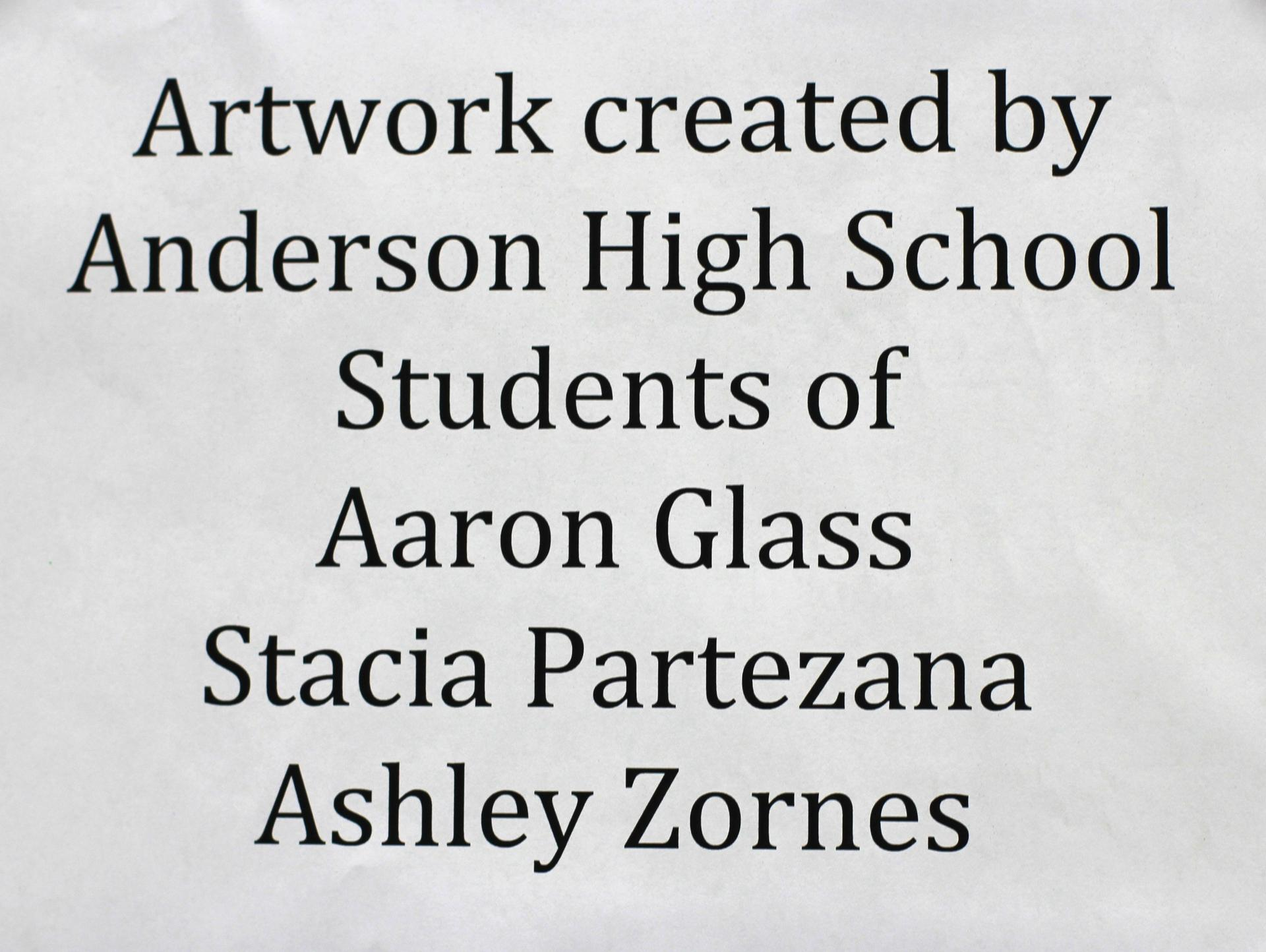 AHS Art sign that artwork is from AHS Art students