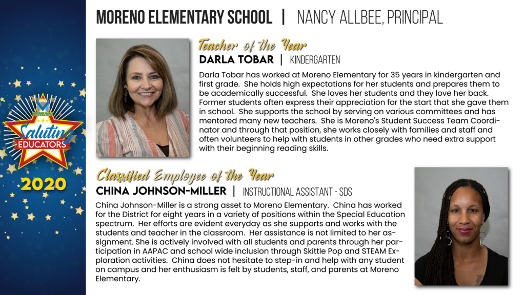 Moreno Elementary Employees of the Year