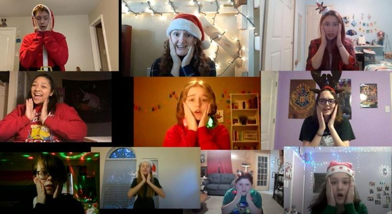 10 video squares, each showing a Musical Theatre student singing from their bedroom at home. The students are singing together and they are wearing holiday outfits.