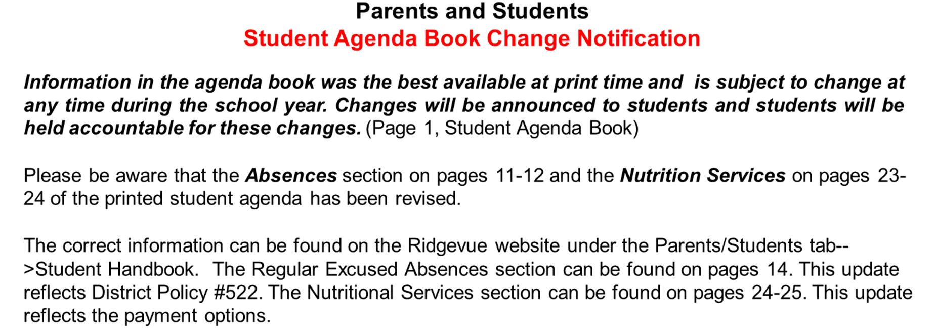 Student Agenda Changes