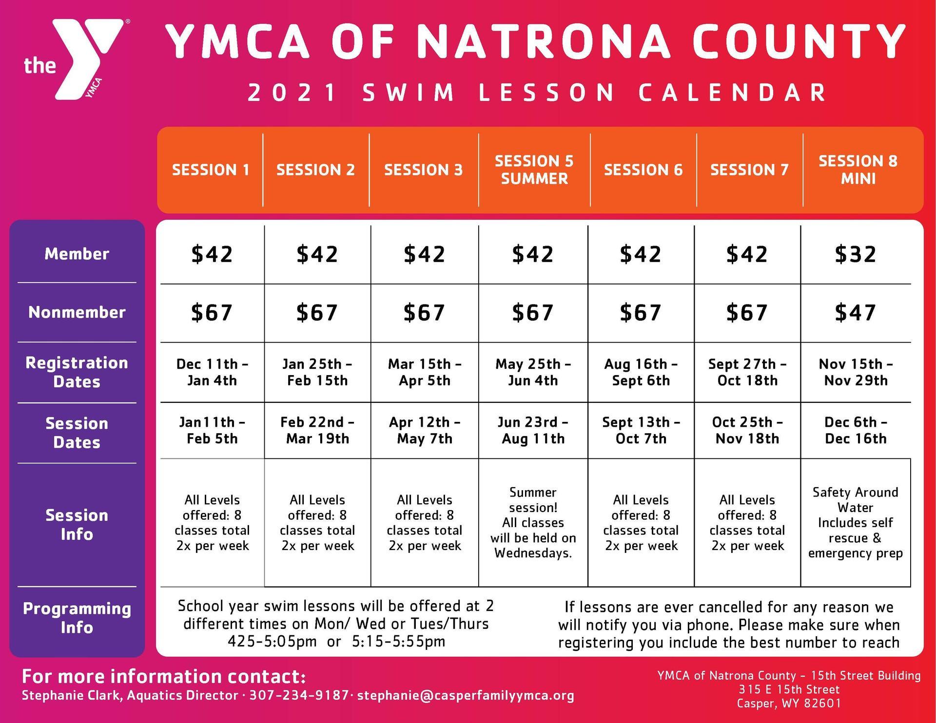 YMCA Swim Lesson Calendar
