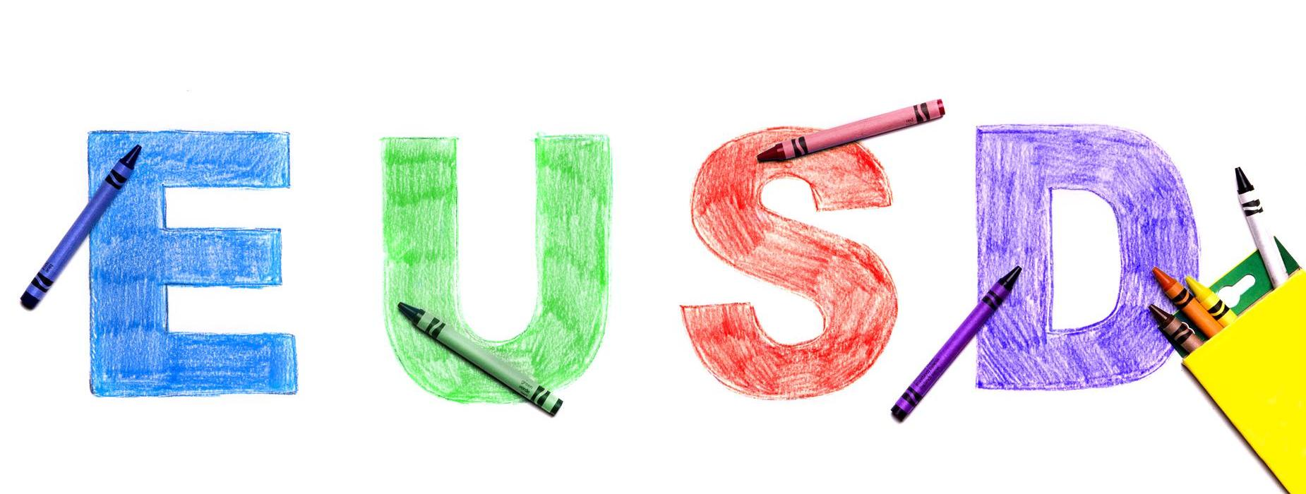 The letters E, U, S and D drawn and colored with crayons