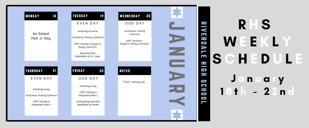 Weekly Schedule 1-18-21