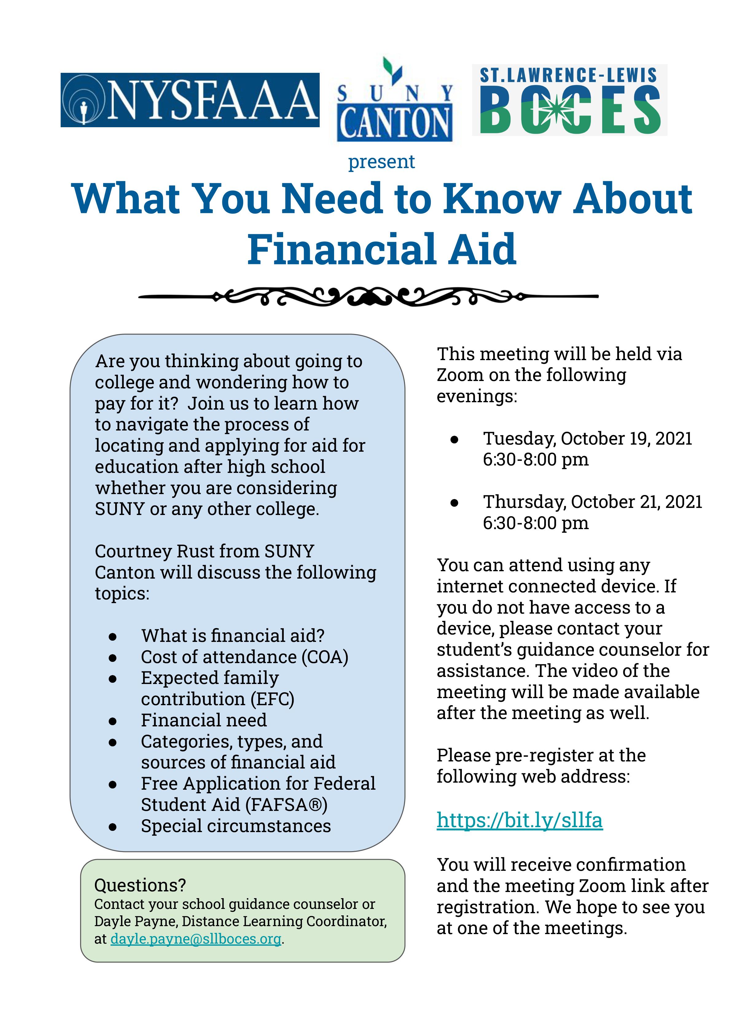 Financial Aid Night Flyer