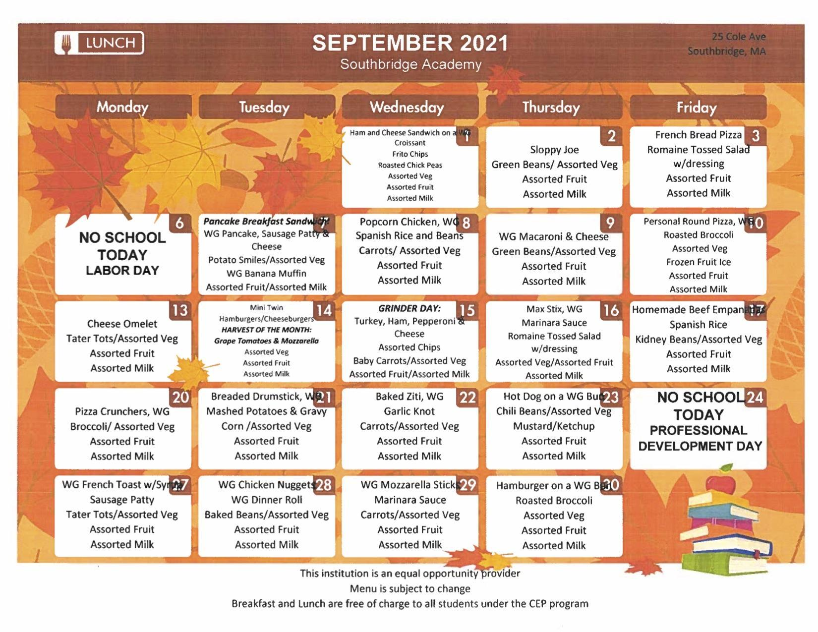 September menu for Southbridge Academy.  This can also be found as a PDF on the same page.