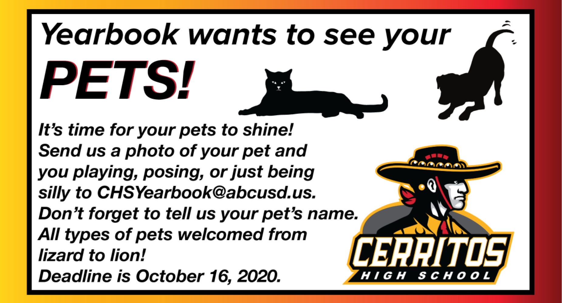 Yearbook wants pictures of your pets!