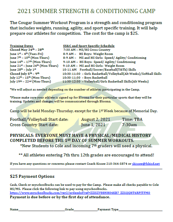 Summer Strength & Conditioning Information Featured Photo