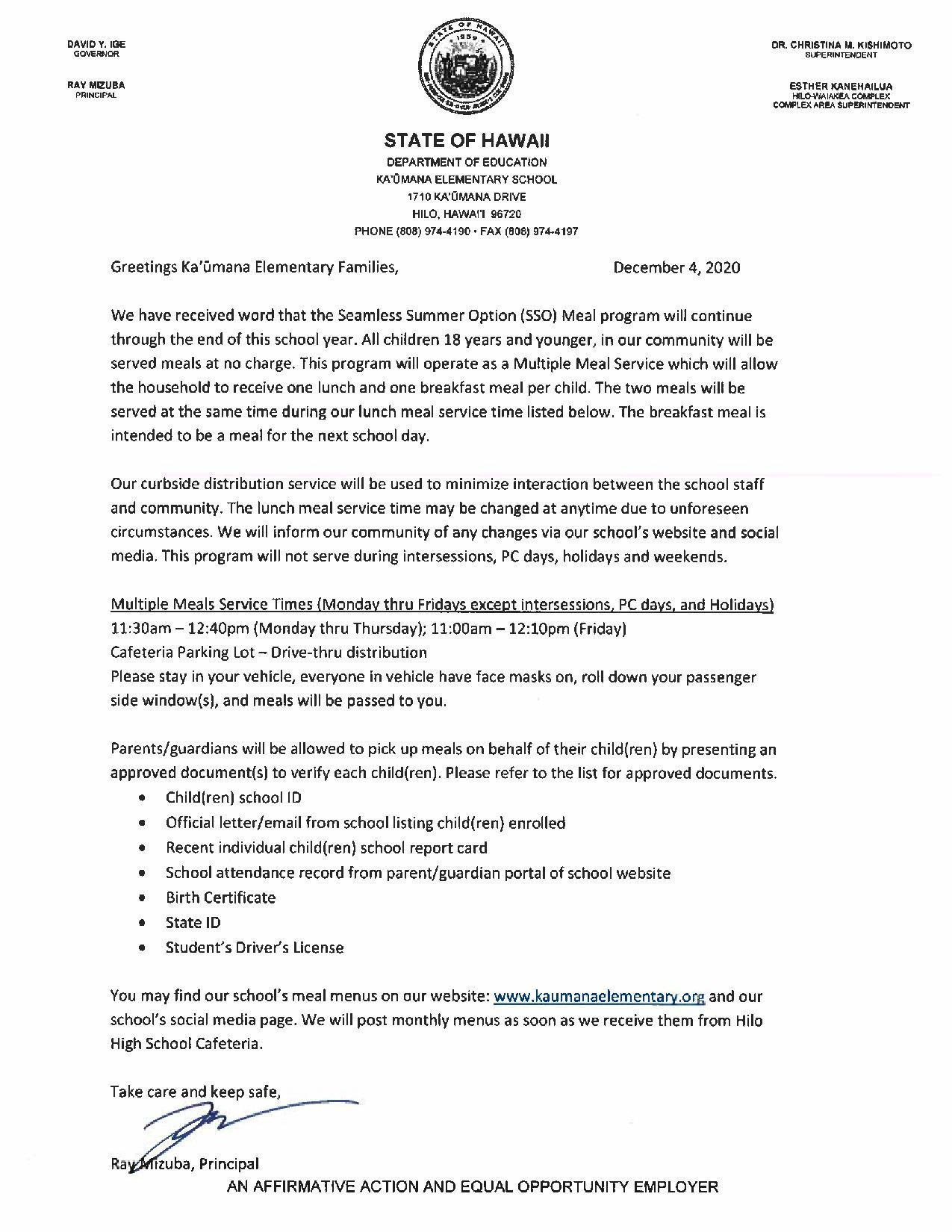 Grab 'n Go Letter to Families - Dec 2020