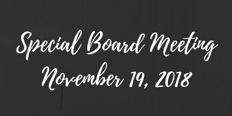 November 19, 2018 Special Board Meeting Thumbnail Image