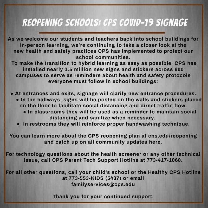 Reopening Schools: CPS COVID-19 Signage Featured Photo